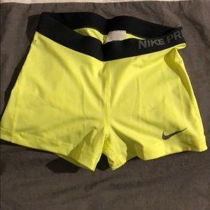 Nike pro compression shorts yellow w/ black